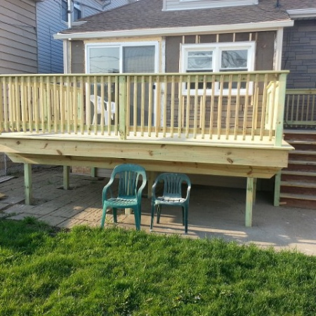 Deck built by foundation crack repair contractors in Chicago