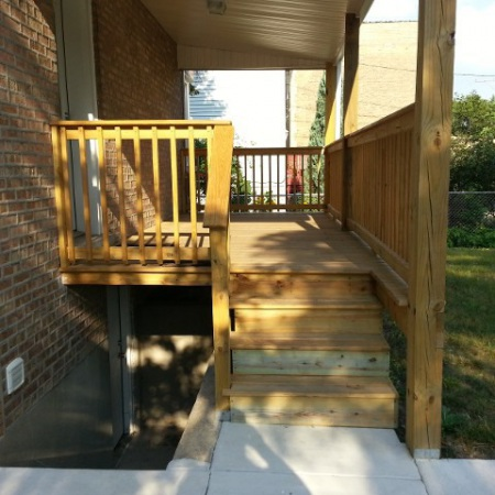 Deck built by foundation crack repair company in Chicago
