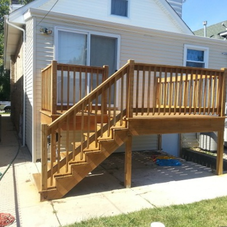 Deck made by foundation crack repair contractors in Chicago