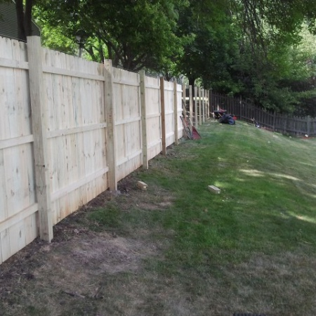 Fence built by foundation crack repair company in Chicago