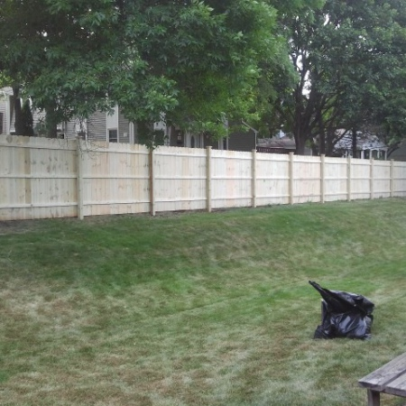 Wood fence built by foundation crack repair company in Chicago